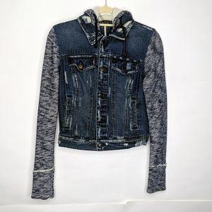 Free People Knit Hooded Denim Jacket size S